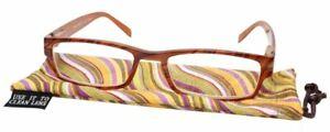Calabria Mira Rectangle Designer Reading Glasses 50mm Swirl Purple,Brown,Orange