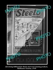 OLD POSTCARD SIZE PHOTO OF STEELO STEEL WOOL ADVERTISING BILLBOARD c1930 VIC