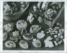 Press Photo Easter Cookies Holiday Basket Candy Sweets Delicious Food B&W