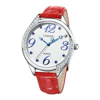 Watch for Women Red Leather Strap Crystal Large Number Dial Ladies Wristwatch