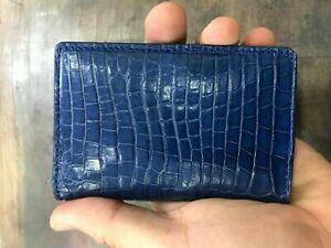 navy blue GENUINE CROCODILE belly Leather Skin cardholder
