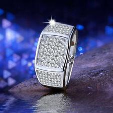 Luxury Women Round Cut White Sapphire 925 Silver Ring Size 9