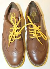 NWT Sketchers Women Brogue Brown W Yellow Sole Lace Up Shoes Light Weight 9.5