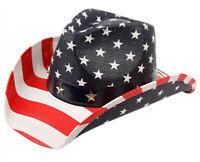Vintage Style Stars and Stripes American Flag Patriotic Unisex Hard Cowboy Hats