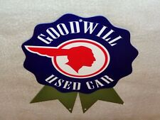 """VINTAGE PONTIAC GOODWILL USED CARS W/ INDIAN CHIEF 12"""" METAL GASOLINE & OIL SIGN"""