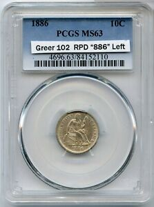 1886 Seated Liberty Silver Dime PCGS MS63 10c Greer 102 RPD 886 Left -  JK628