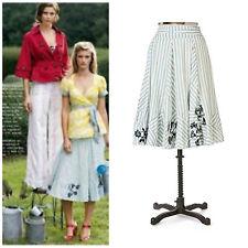Anthropologie Lithe Hazel Hedge Blue Striped Floral Pieced Retro Circle Skirt 10