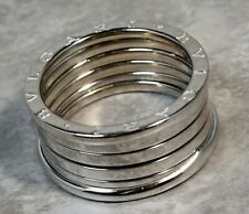 $2350 Bulgari Bvlgari B.01 18K White Gold Four Coil Ring