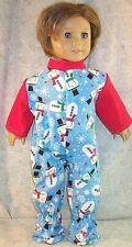 """Doll Clothes Made 2 Fit American Girl 18""""inch Footed Pajamas Snowmen Winter Red"""