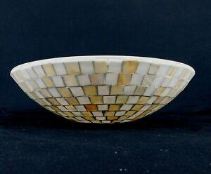 "15.5"" Dome Mosaic White Beige Glass Tile Restaurant Style Lamp Light Shade"