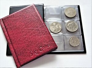 Coin album 48 BIG Coins ( £5 ,Crown ,old 25p ,AUS 50 c and other ) BURGUNDY