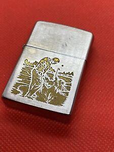 1976 Zippo LIGHTER GOLF SCENE NICE VINTAG TOBACCIANA SMOKING