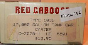 HO SCALE RED CABOOSE 10,000 GALLON TANK CAR CARTER KIT NOS