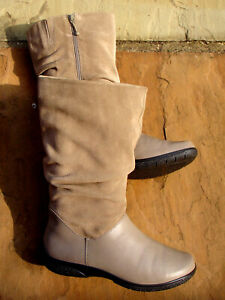 Hotter Mystery Mid Calf Boots Mushroom Leather/Suede Size 6.5 40 Worn Once Mint