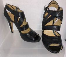Nine West Adorbs Patent Black Ankle Asymmetrical Strap Sandal Heels Size 9