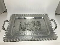 Vintage Cromwell Hand Wrought Hammered Aluminum Metal Tray Roses - Make offer!