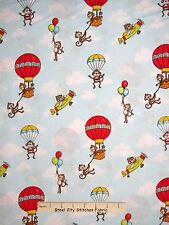 Monkey Fabric - Monkeys Hot Air Balloon Sky HG&Co #6351 Monkey Around - Yard