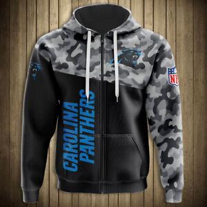 Carolina Panthers Hoodie Football Zipper Sweatshirt Casual Sports Hooded Jacket