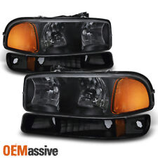 1999-2006 GMC Sierra Yukon Black Headlights + Bumper Signal Lamps Replacement