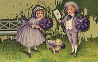 1914 VINTAGE Misch Boy & Girl & Dog in PURPLE POSTCARD - 47 Violet St, Bendigo