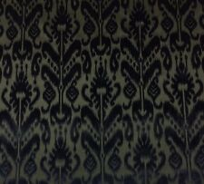 "DONGHIA PAISLEY IKAT TOYO INK BLACK CUT VELVET EXCLUSIVE FABRIC BY THE YARD 51""W"