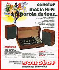 PUBLICITE ADVERTISING  1974   SONOLOR   chaine compacte stéréo hi-fi