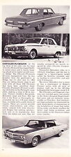 1965 CHRYSLER-PLYMOUTH  ~  CLASSIC ORIGINAL NEW CAR PREVIEW ARTICLE / AD