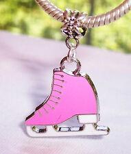 Ice Skate Pink Enamel Skater Sports Dangle Bead fits European Charm Bracelets