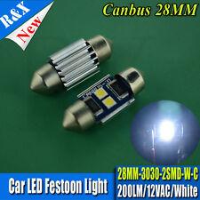 1x Bright White 3030 SMD 200LM CANBUS NO ERROR LED Festoon 27mm 28mm Wedge Light