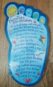 2001 Hanging Abbey Press Child's Footprints Religious Poem Plaque/Picture