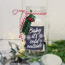 """Glass jar with 6 mini Christmas cookie cutters """"Baby It's Cold Outside"""""""