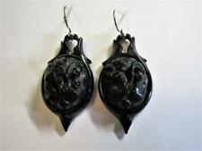 ANTIQUE VICTORIAN CARVED WHITBY JET DROP DANGLE EARRINGS - Flowers!