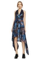 $318New Women's BCBG Maegan Metallic Jacquard Halter Asymmetric Dress SZ M Silk