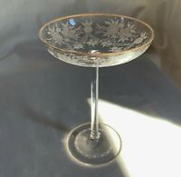 "American Brilliant Steuben unsigned engraved tazza.Flowers,festoons.6 3/4"" h."