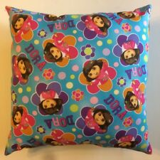 NEW DORA THE EXPLORER FLORAL BADGES TV SERIES COMPLETE 15 X 15 THROW PILLOW