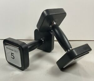 Dumbbells 2 Crome Reebok 5 Pound Exercise Toning Set W/ Rubber Guards / Grips