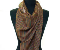 Light Cotton Scarf. Brown, Burgundy & Off-White. Stripes. India Wrap or Stole