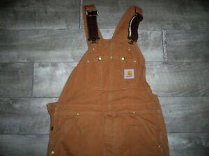 Carhartt Traditional Men's Quilt Lined Duck Bib Overalls R02 Men's Size 34 X 34