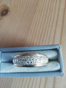 LOVELY LARGE REAL DIAMOND SOLID 9CT GOLD RING Sz V Full Hallmarks
