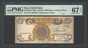 Iraq- 1000 Dinars 2003/AH1424  P93a Uncirculated Graded 67