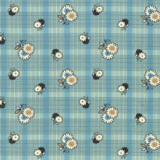 Denyse Schmidt PWDS128 Winter Walk Floral Plaid Stream Cotton Fabric By Yd