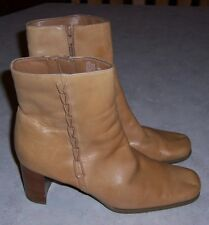 "ST JOHN'S BAY Womens Size 7.5M Tan Leather Fashion Ankle Boots 3"" Heel Side Zip"