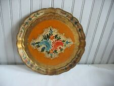"""11"""" Round Wooden Florentine Tray Italian Hand Painted Italy Orange Floral Gold"""