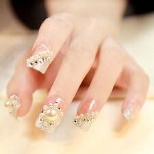 24pcs Pre Design French Nail Wedding Style False Nail Tips Large Pearl Z039