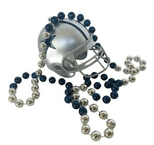 Dallas Cowboys Memorabilia NFL Football Vtg Necklace Beads Helmet mardi gras HOF