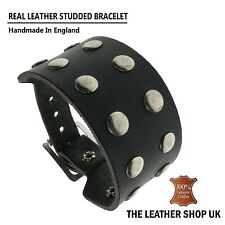 Mens Womens 100% Real Leather Handmade Rivet Metal Studded Wristband Made In UK