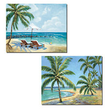 2 Tropical Beach Palm Tree and Lounge Chair Set; Two 14X11 Poster Prints