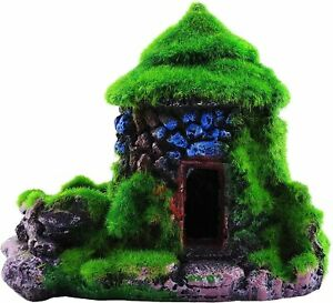 Aquarium Decorations Fish Hideout House Betta Cave with Green Lifelike Style 1