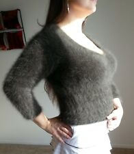 RARE LARGE Express 80% ANGORA sweater! Fuzzy Fluffy Furry Soft! Brown