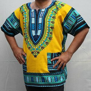 Dashiki African *Hippie Mexican*Poncho Tribal T-Shirts 100% Cotton Bright Colors